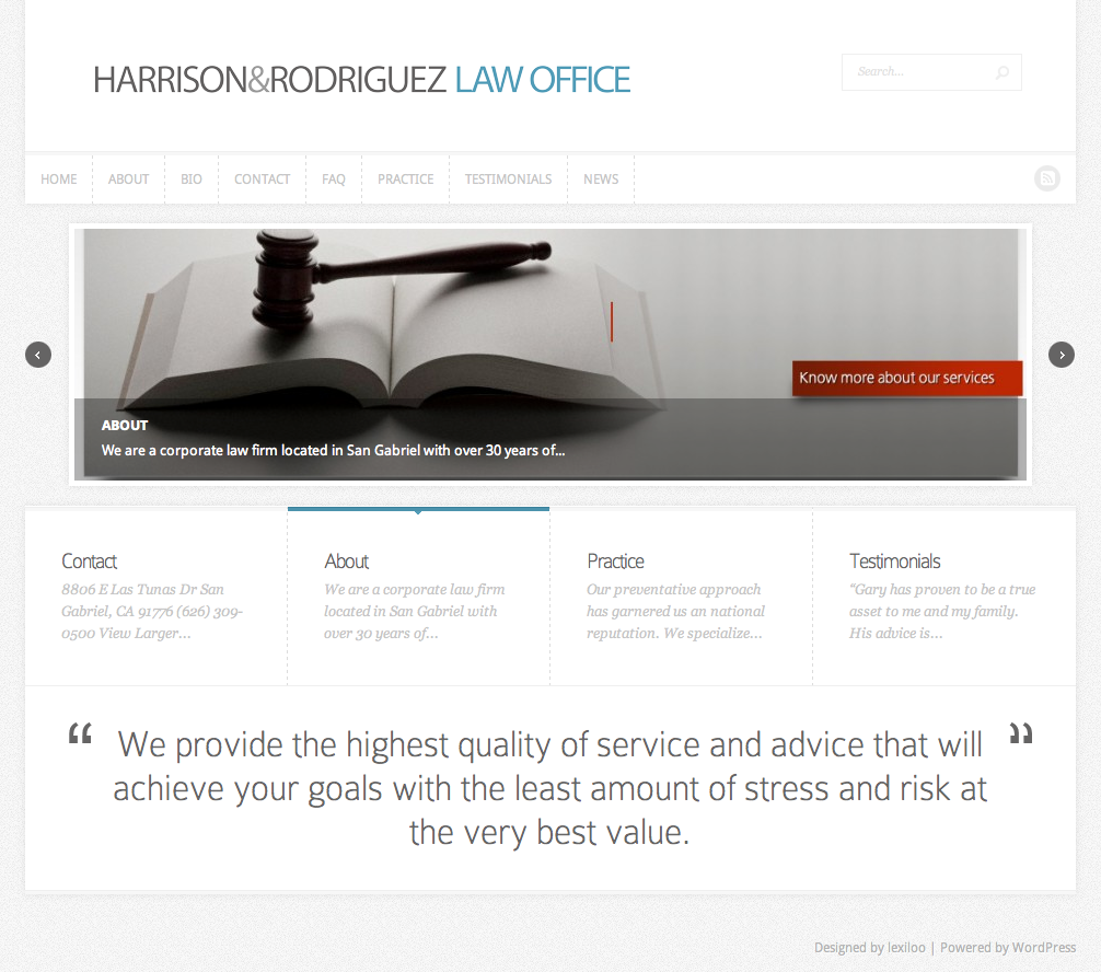 Harrison and Rodrigues Law Office Website